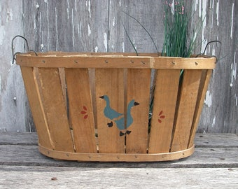 Vintage Slat Wood Basket With Wire Handles and Hand Painted Geese, Country Farmhouse Decor, Gathering Harvest Fruit Basket