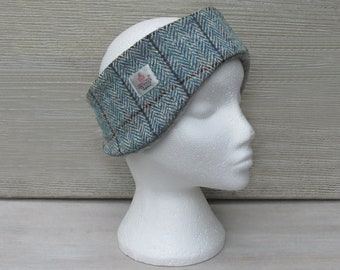Harris Tweed Blue & Pink Herringbone Luxury Ear Warmer Headband