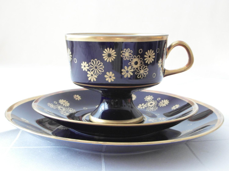 kobaltblau tasse trio echt kobalt porzellan vergoldet tee. Black Bedroom Furniture Sets. Home Design Ideas