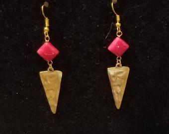 Gold Arrows with Red Jade Earrings, Gold Arrow Earrings, Arrow Earrings