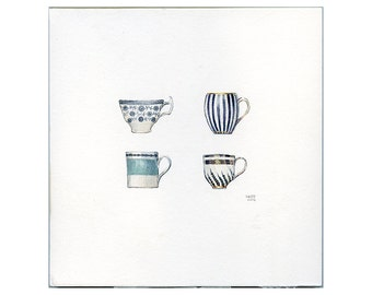 Small Realistic Blue & Grey Tea Cups Watercolor Painting