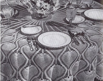 Crochet TABLECLOTH Pattern Vintage 70s Crochet Pineapple Round Tablecloth Pattern
