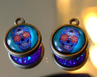 Sugar Skull   Two sided Reversible  Earrings Bling  Blue  Dia de los Muertos
