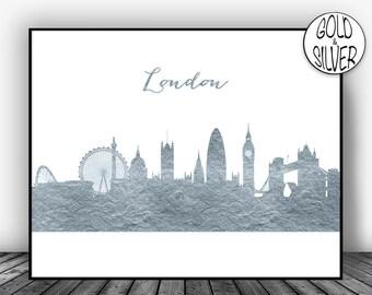London Skyline London Print London Poster London Art Print London Cityscape City Skyline Office Art Print Office Wall Art Gold Decor