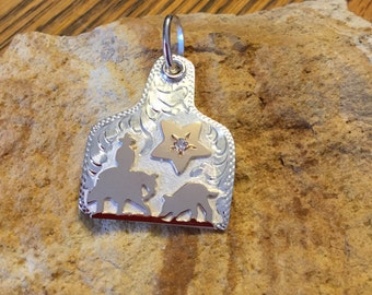 Cutting horse Pendent/ Ear Tag with a star/ Artisan Handmade/ Sterling Silver