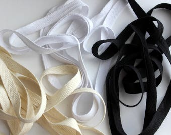 "3/8"" Cotton Twill Tape - 5 yards - White, Black or Natural"