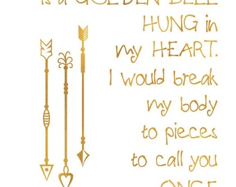 Your name is a golden bell - 8x10 Last Unicorn typography print