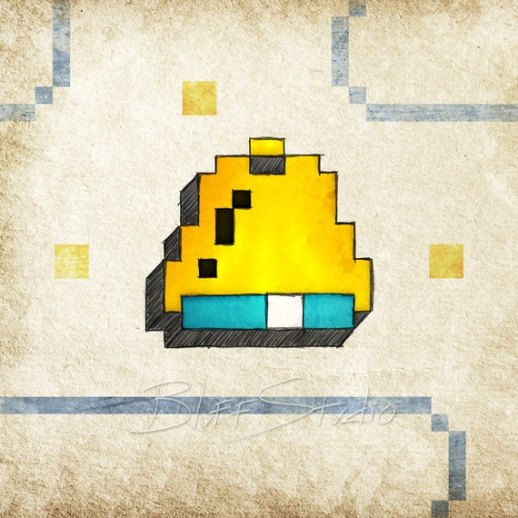 Pac Man Bell 8 bit video game art retro gaming wall