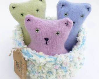 Three little kittens in a basket set Waldorf inspired ready to ship