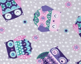 Snuggle Flannel Prints - Printed Sleepy Owls - 29 inches