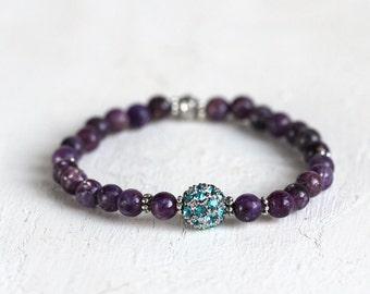 Gemstone Crystal Pave Bracelet - Purple Gemstone Bracelet - Lepidolite Bracelet - Purple and Turquoise Bracelet - Pave Stretch Bracelet