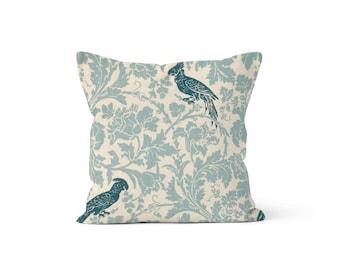 Blue Birds Pillow Cover - Barber Village Blue - Lumbar 12 14 16 18 20 22 24 26 Euro - Hidden Zipper Closure