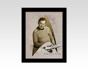 "Star Trek The Original Series Captain Kirk ""Second Star to the Right"" vintage style print"