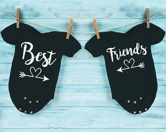 Best friends black baby grows, bodysuits, vests for twins. Set for twins.
