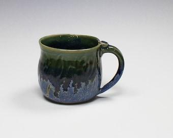 Blue and green Ceramic Mug, Soup mug, Coffee Mug, Hand-carved, Blue
