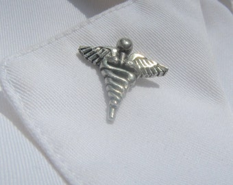 Caduceus Lapel Pin- CC599- Medicine, Pharmacy, Healing and Wellness Pins- Greek Mythology and Ancient Roman Symbols