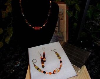 Beaded Jewelry Set, Necklace, Bracelet, Earrings, Fall Colors