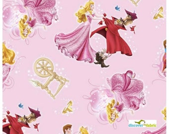 SALE Disney Princess Sleeping Beauty Character Fabric 28.5 INCHES End Of Bolt Fabric
