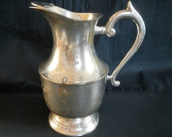 Vintage Leona Water Pitcher with Ice Lip - EPNS, India - electroplated nickel silver, marked, art nouveau, art deco, dining, entertaining