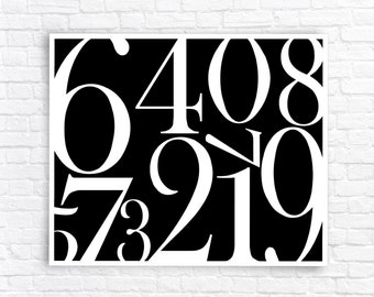 Digital Art Print, Wall Art, Numbers Wall Art, Numbers Wall Decor, Black and White Wall Art, Typography, Numerical Wall Decor, Wall Art.