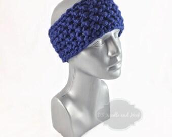 Blue Crochet Headband, Sapphire Blue Ear Warmer, Knit Head Wrap, Royal Blue Winter Headband, Head Warmer,