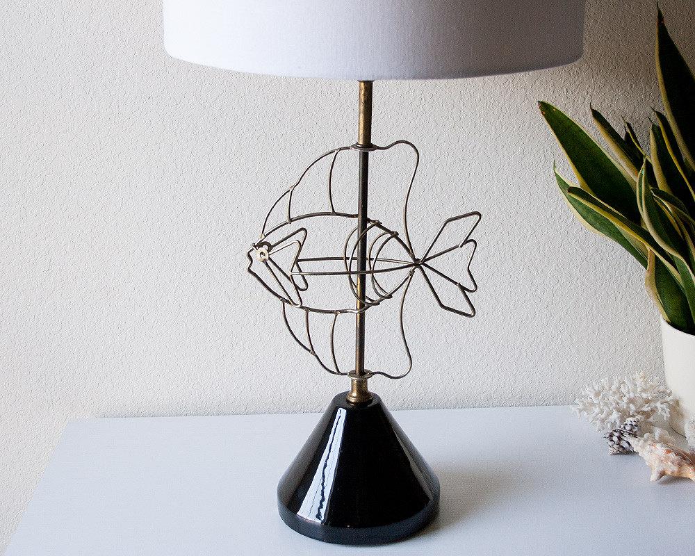 Vintage fish lamp mid century wire table light modern metal