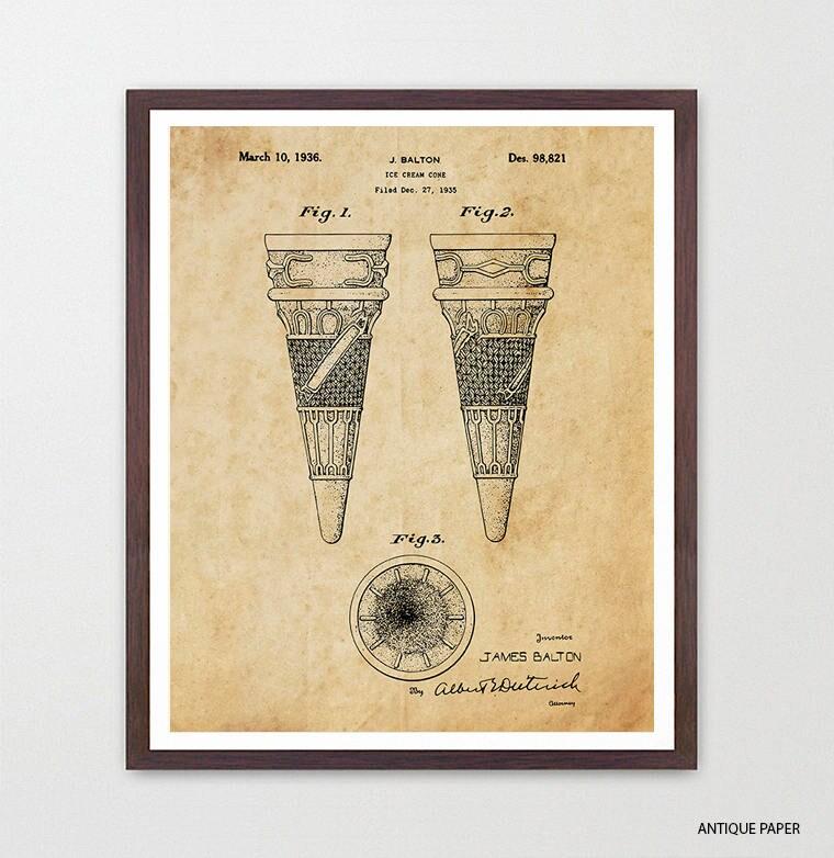 Ice Cream Patent - Ice Cream Art - Ice Cream Cone - Ice Cream Scoop ...