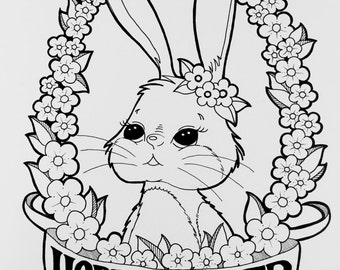Digital Coloring Page - Happy Easter, Bunny Coloring Page