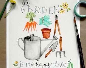 Garden Art Print/ Garden Watercolor/ Happy Place- 8x10