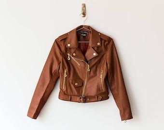 New Handmade Caramel Brown Faux Leather Women Jacket