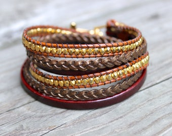 Brown Beaded Leather Double Wrap Bracelet with Brown Braided Leather and Gold Beads on Saddle Brown Leather