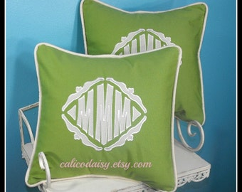 SET OF 2 - The Veronique Applique Monogrammed Pillow Cover - 14 x 14 square