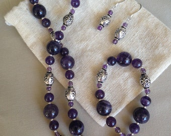 Genuine Amethyst and Sterling Silver Necklace and Earring Set