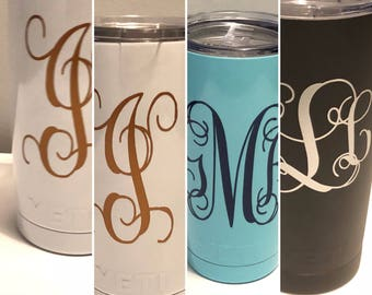 Personalized 20 ounce Yeti Tumblers, assorted colors.