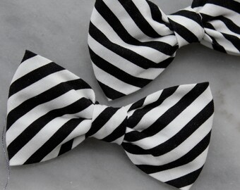 Black and White Stripe Bow Tie - clip on, pre-tied with strap or self tying - for men or boys0