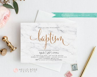 Printable Baptism Invitation . White Marble and Gold Glitter Baptism Invitation . Digital Download . Rose Gold Glitter and Marble