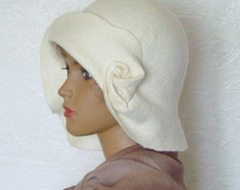 White felted hat, Women's winter hat, Felted hat with the brims, Wool hat, Merino wool