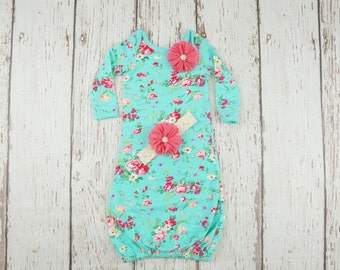 Newborn girl baby gown, newborn girl take home outfit, baby girl gown, infant gown, hospital outfit, newborn girl outfit, layette set