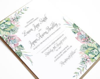 Watercolour Succulent cactus Wedding Invitation, Succulent Invitation, Cactus wedding, Tropical Wedding, Blush and Green