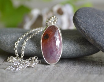 Rose Cut Ruby Necklace, 10.7ct Ruby Necklace, July Birthstone, Large Ruby Necklace Handmade In The UK