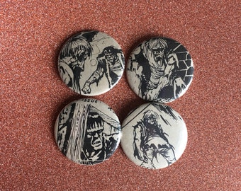FRANKENSTEIN pins, vintage comic buttons, 1.5 inch pin back button, 37 mm pinback button