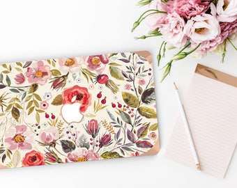 Macbook Pro 13 Case Macbook Air Case Laptop Case Macbook Case . Morning Floral Medley with Rose Gold Chrome Edge