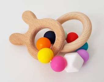 Silicone Wooden Bead Teether - Montessori Inspired, Sensory Toy, Baby Shower Gift, Wooden Rattle, Montessori Baby, Teething Toy, Baby Toy
