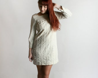 Vintage 1960s Mini Dress - Crochet Knit Style Oatmeal White Long Sleeve Shift Dress - Winter Twiggy - Small Medium