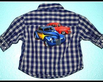 Boys Rockabilly Hot Rod Cars Plaid Shirt....size 0-3 months