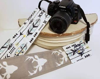 Padded DSLR camera strap cover, reversible padded camera strap cover, slip on strap cover, Feather and Deer DSLR  Padded Camera Strap Cover