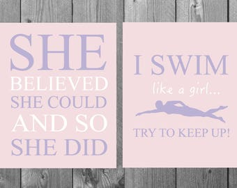 I swim like a girl, swimming inspirational quotes, she believed she could, gift for girl athlete, swimming wall art, girls room wall hanging