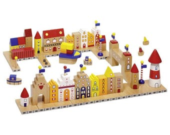 My Little Harbour, Harbour building bricks, Colourful building bricks, Wooden building brick set, Wooden toddlers building blocks