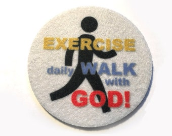 Car coasters for your car's cup holder - Set of two super absorbent car coaster - Free Shipping - Exercise daily Walk with God!