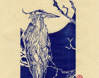 Blue Heron On Moonlight Bay-Original relief print